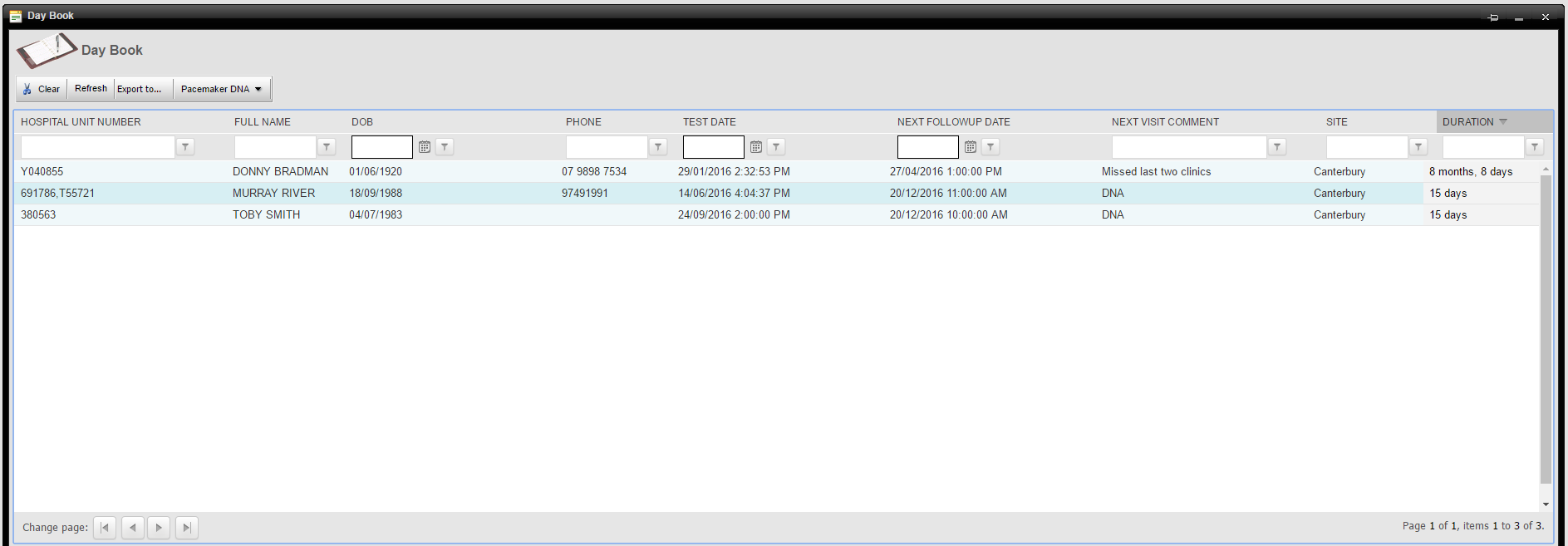 Screenshot of Cardiobase Daybook report